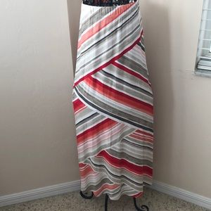 Chico's Multi Colored Striped Maxi Skirt Size 1